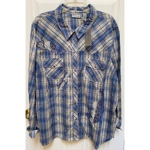 Catherines Blue Plaid and Paisley Sparkle Blouse